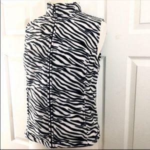 Fleece Zebra Print Vest Size Small NEW